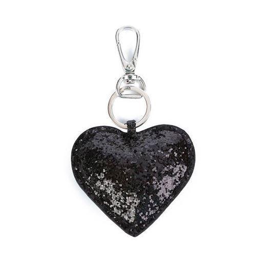 Image of   Nøglering, hjerte, sort Glitter