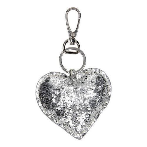Image of   Nøglering, hjerte, sølv Glitter