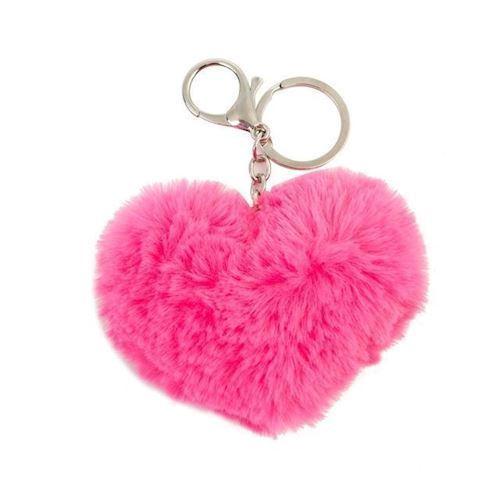Image of Nøglering, hjerte, fluffy pink (8715973127204)
