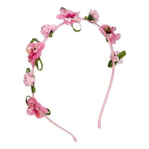 Image of   Diadem, pandebånd, med blomst pink