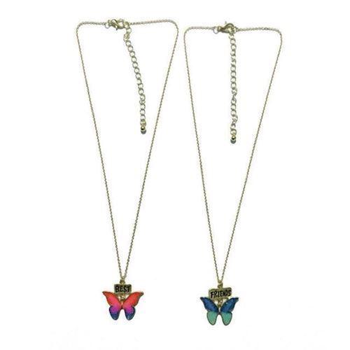 Image of   BFF halskæde med sommerfugle, 2stk.