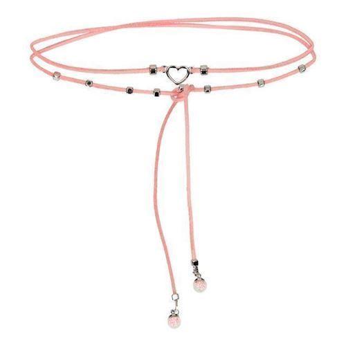 Image of   BFF halskæde /choker med hjerte, lyserød