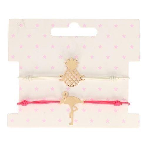 Image of Armbånd, 2 stk, ananas og flamingo (8715973131386)