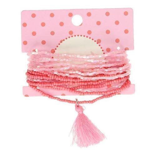 Image of   Armbånd med lyserøde perler, 16 stk