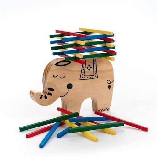 Image of   Balancespil i træ elefant