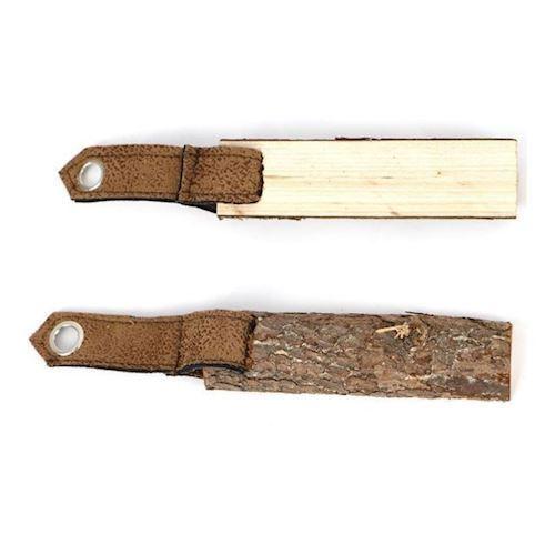 Image of   Nøglering, træ med læder, 2 stk