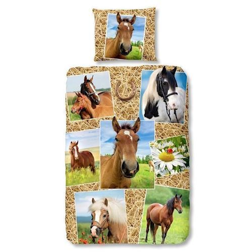 Image of Sengesæt til børn med heste (8717285121314)