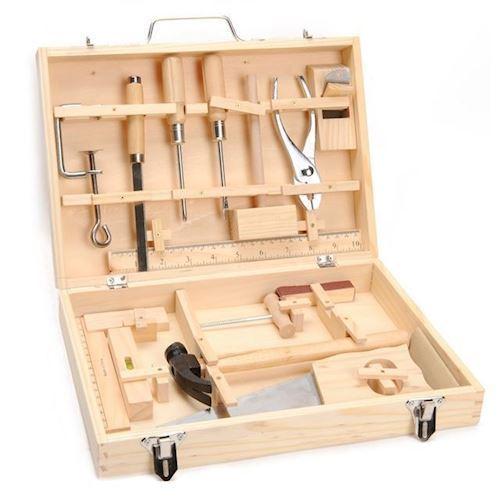 Image of   Værktøjskasse i træ 16 dele