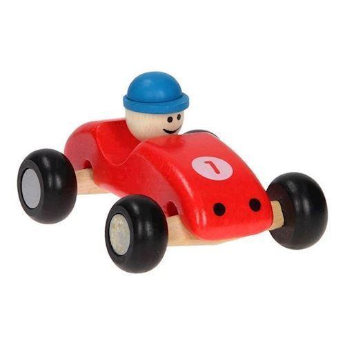 Image of Racerbil i træ, rød (8719348002370)