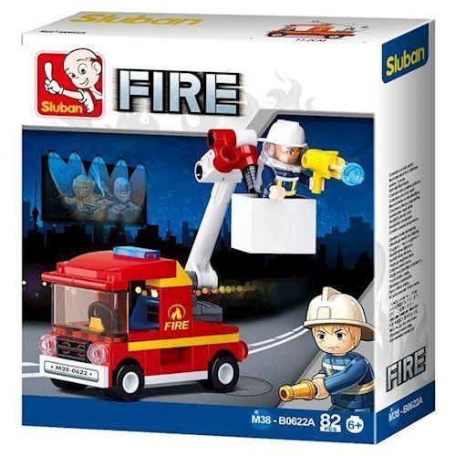 Image of Sluban Fire lille brandbil med kran (8719558070565)