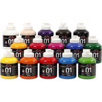 A-Color - akryl maling - Assorted Colors - 01 - Glossy - 15x500ml