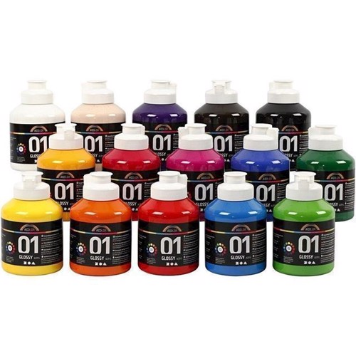 Image of   A-Color - akryl maling - Assorted Colors - 01 - Glossy - 15x500ml