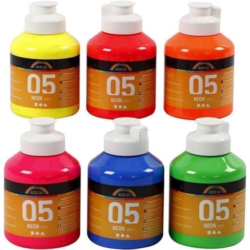 Image of   Akrylmaling A-Color, 05 neon farver 6x500 ml