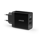 Anker 24W 2port USB Wall Charger, 24W  4,8A, Black
