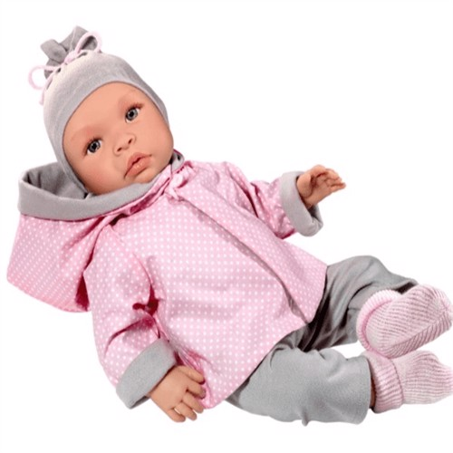 Image of Asi dolls - Leonora doll in grey and rose clothing, 46 cm (8435384416918)