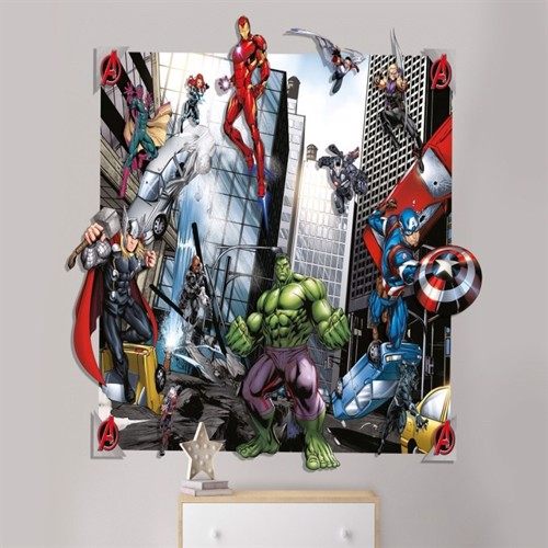 Image of   Avengers 3D Vægdekoration Wallstickers Tapet