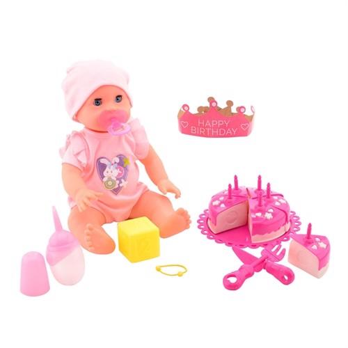 Image of Dukken Rose med kage tilbehør 32 cm