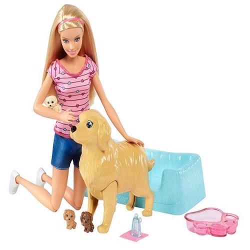 Image of   Barbie - dukke med nyfødte hundehvalpe