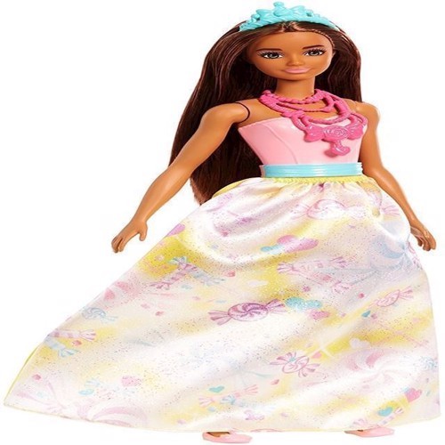 Image of   Barbie, Dreamtopia prinsesse dukke, kjole med søde sager
