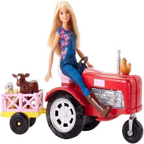 Image of   Barbie, Bondegårds sæt, Barbie dukke med traktor