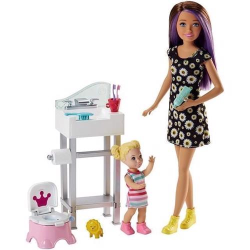 Image of Barbie - Skipper Babysitter dukke med tilbehær, badeværelse(FJB01)