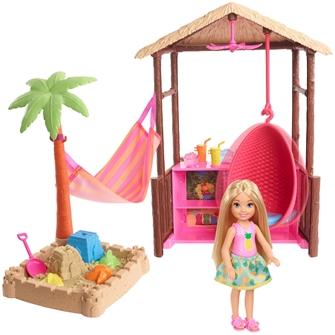 Image of Barbie Chelsea Tiki Hytte legesæt med magisk sand