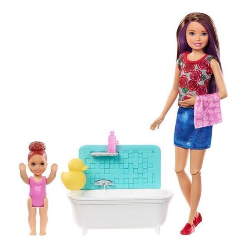 Image of Barbie Skipper Babysitters Doll And Playset Bathtub Fxh05