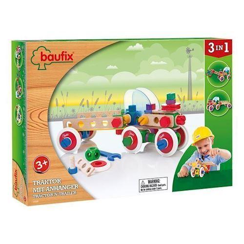 Image of Baufix byggesæt, traktor med trailer 95 dele (9003150104537)