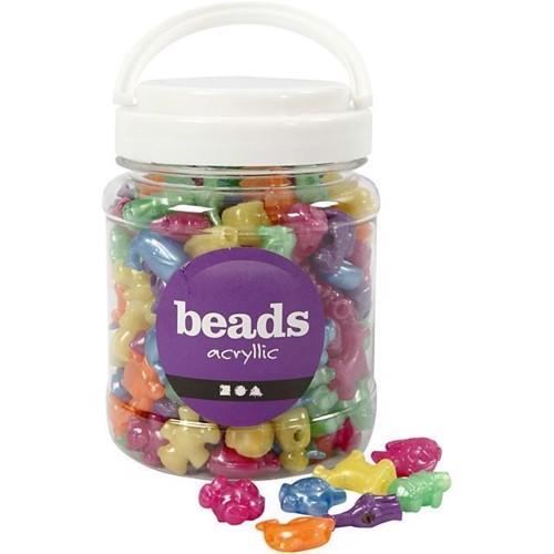 Image of Perler i bøtte 700 ml, perler med dyr, ca. 220 stk (5707167026229)