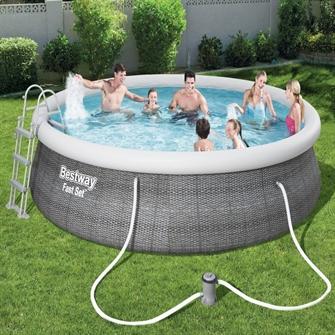 Image of Bestway Fast Set Pool Rattan Sæt 457 x 107 cm m/pumpe, stige m.v.