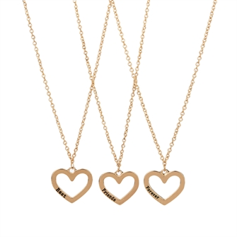 Image of BFF Necklace with Open Heart, 3pcs. (8715973135414)