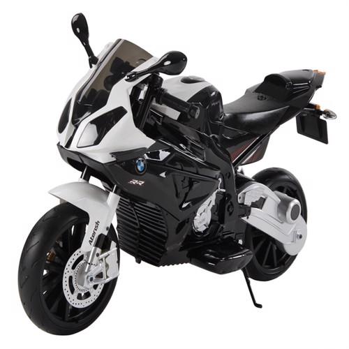 Image of Bmw S1000Rr Motorcykel Til Børn 12V Med Gummihjul Sort