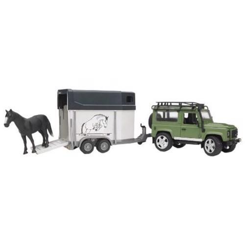 Image of Bruder LandRover Defender med heste trailer