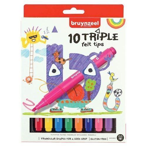 Image of Bruynzeel Kids - Triple Felt Tip, 10stk