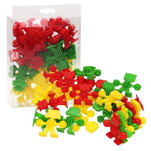 Image of Byggetyber med dyr rød/grøn/gul 24 dele
