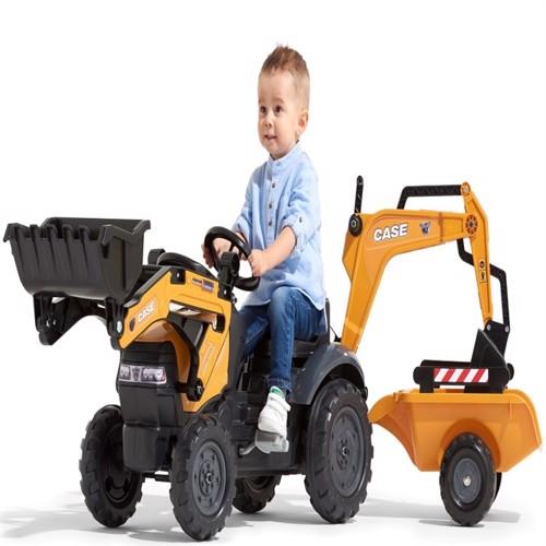 Image of Case Construction Pedal Traktor m/Frontskovl + Trailer + Gravekran (3016200967149)