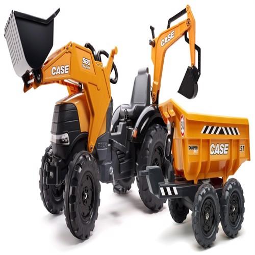 Image of Case Ih580 Super N Traktor Med Frontskovl Gravekran Anhænger