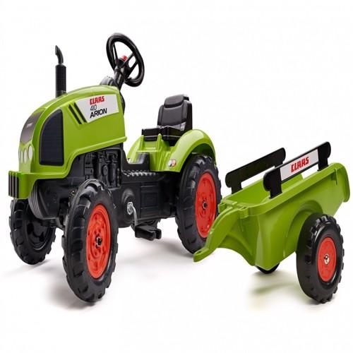 Image of Claas Arion 410 Pedal Traktor Til Børn Med Trailer