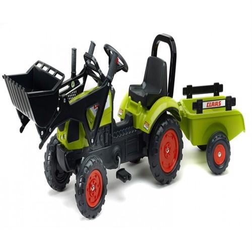 Image of Claas Arion 410 Pedaltraktor Til Børn Med Trailer Og Frontskovl