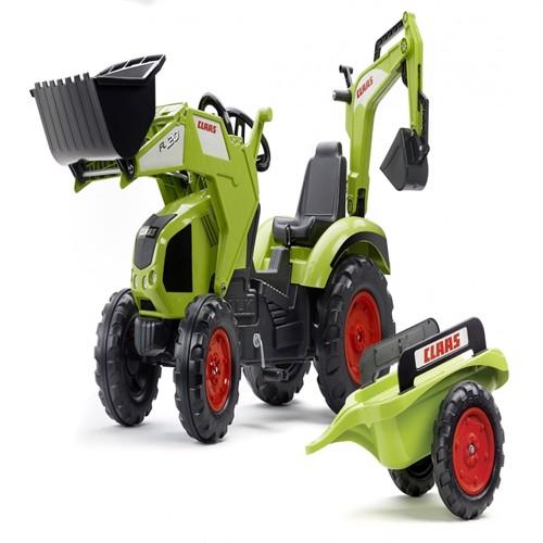 Image of Claas Axos Traktor Med Frontskovl Gravekran Anhænger