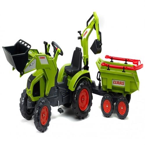 Image of Claas Axos Traktor Med Frontskovl Gravekran Maxi Anhænger Værktøj