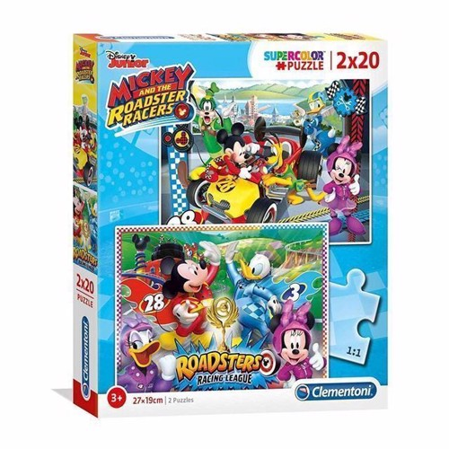 Image of Clementoni puslespil Mickey Roadster Racers, 2x20 brikker