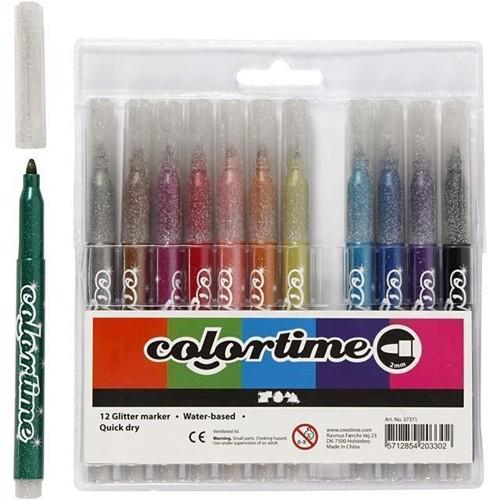 Image of Colortime Glitter Marker bredde 4,2 mm 12 stk