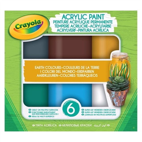 Image of Crayola akryl maling, jord farver. 6 dele
