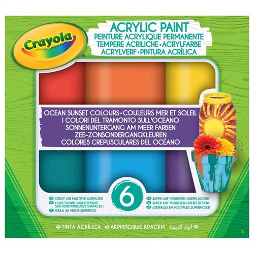 Image of Crayola skryl maling, solnedgang over havet, 6 dele