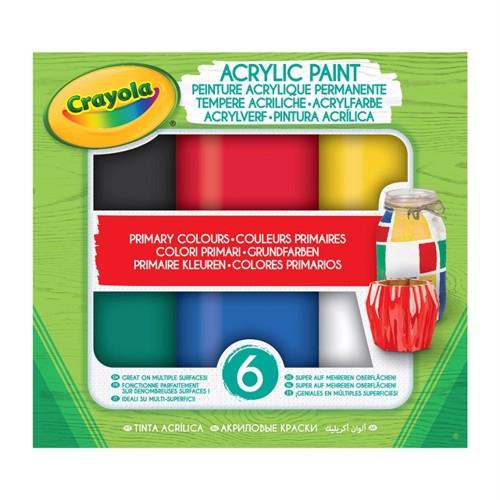 Image of Crayola akryl maling, primær, 6 stks