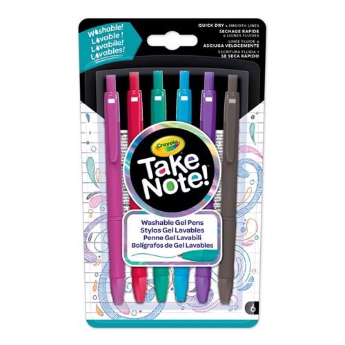 Image of Crayola Take Note, vaskbare Gel kuglepenne, 6 stk