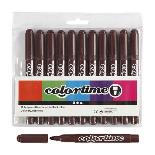 Image of Colortime - Jumbo Tuscher - Mørke brun, 12stk