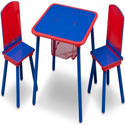 Image of Delta bord med opbevaring og stole blå/rød