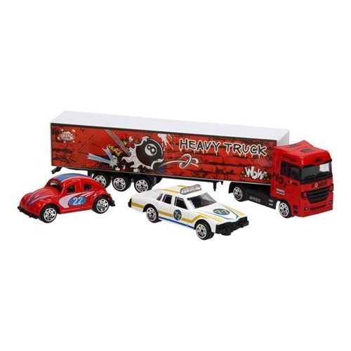 Image of Diecast lastbil sæt rød